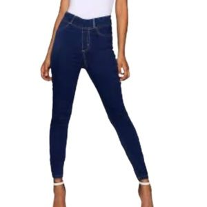 Boohoo High Rise Pull On Mid Blue Jegging Jeans